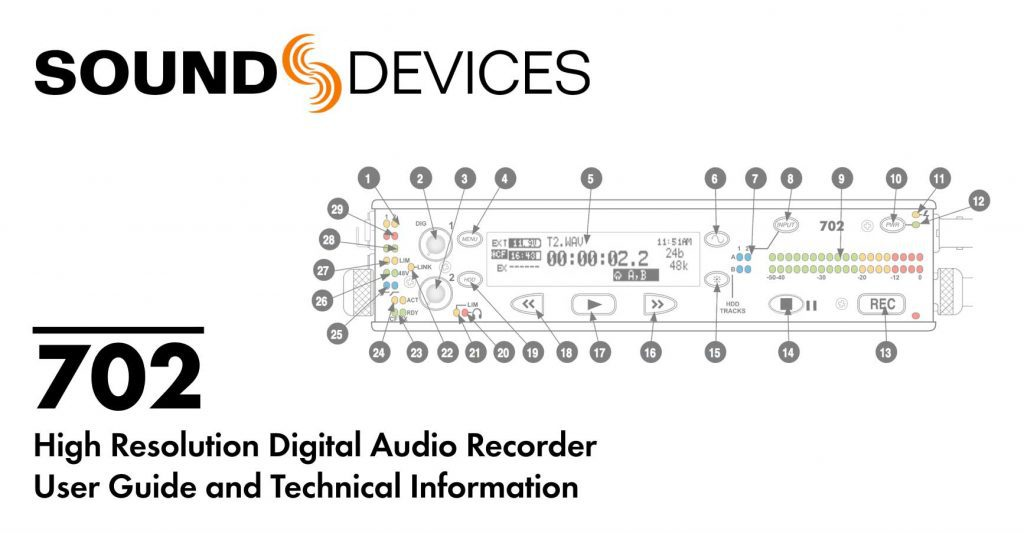 Sound Devices 702 High Resolution Digital Audio Recorder user guide and technical information